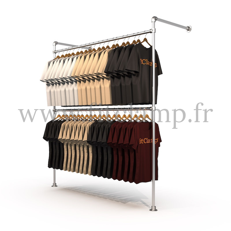 Tubular structure single wall-mounted clothes rail. Easy to install