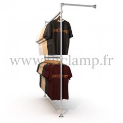 Porte-vêtements mural simple en structure tubulaire acier galvanisé B 34. En situation 2. FitClamp