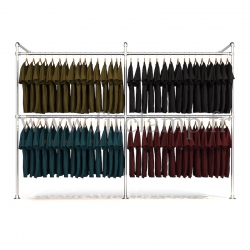 Double wall-mounted clothes rail - tubular structure
