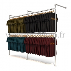 Double wall-mounted clothes rail - tubular structure. Perfect for shop layouts. FitClamp