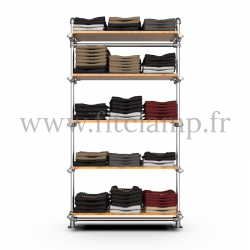 Single-width 5-level shelving with hanging wardrobe - tubular structure. Quick and easy assembly with an Allen key (provided).