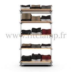 Structure étagère tubulaire simple - 5 niveaux - FitClamp
