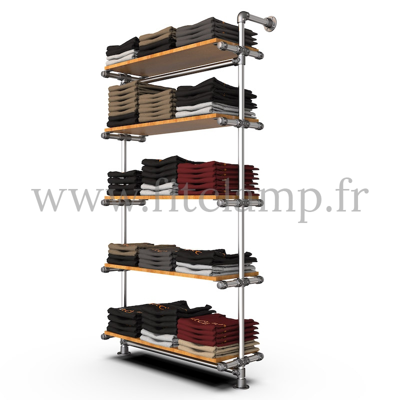 Single-width 5-level shelving with hanging wardrobe. Tubular structure. Easy to install. FitClamp
