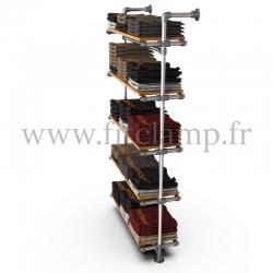 Etagère simple 5 niveaux en structure tubulaire acier galvanisé Ø  B34 avec vêtements 3. FitClamp.