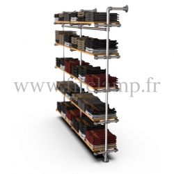 Double-width 5-level shelving with hanging wardrobe. Tubular structure. A trendy, industrial design for interior renovations
