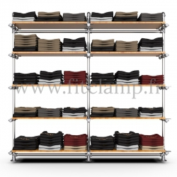 Double-width 5-level shelving with hanging wardrobe. Tubular structure. Easy to install. FitClamp