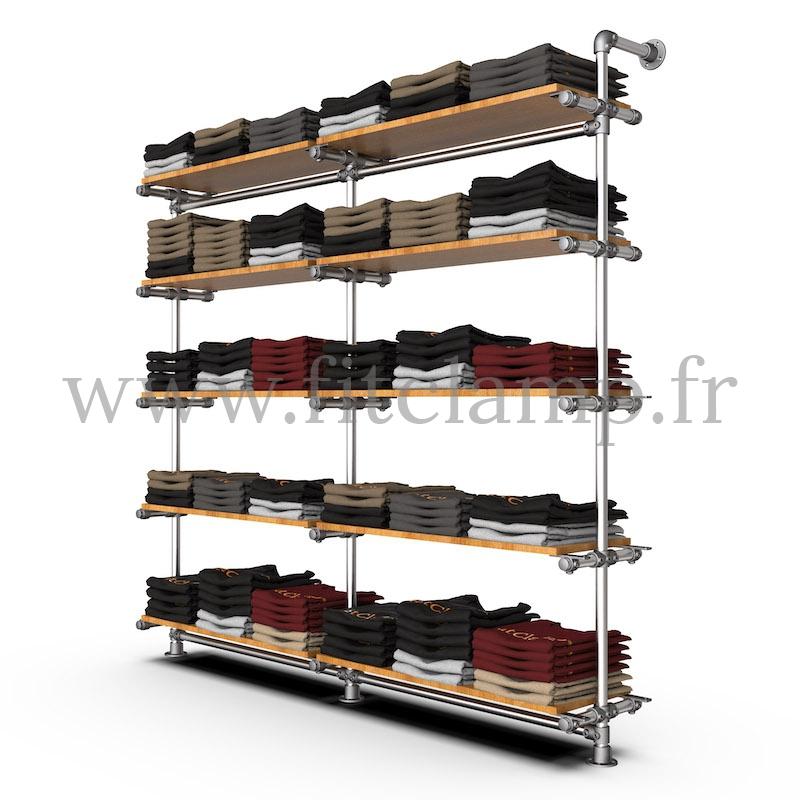 Etagère double 5 niveaux en structure tubulaire acier galvanisé. En situation avec vêtements. FitClamp
