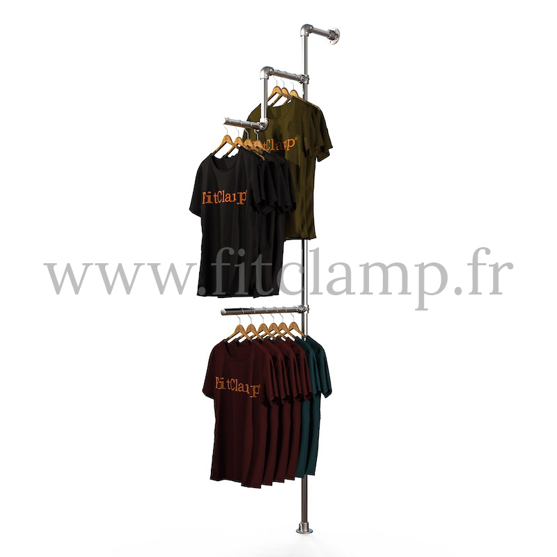 Tubular structure solo wall-mounted clothes rail. Easy to install. FitClamp