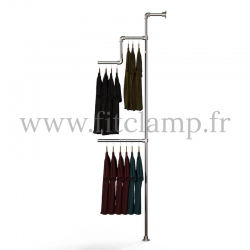 Tubular structure solo wall-mounted clothes rail. Ideal for in-store product promotions