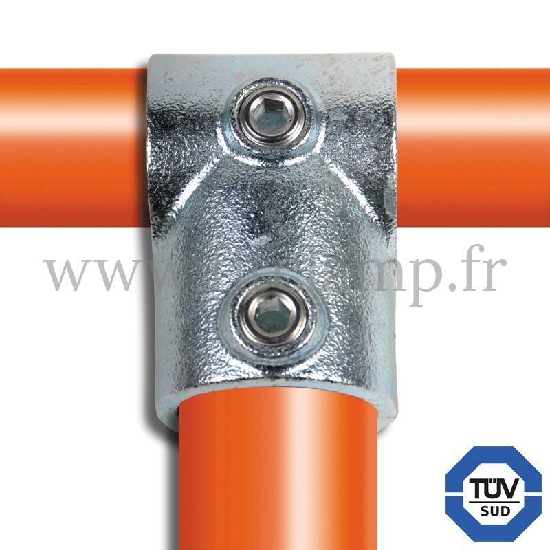 Rohrverbinder 101: Kurzes T-Stück geeignet für 2 Rohre für Rohrkonstruktion. FitClamp