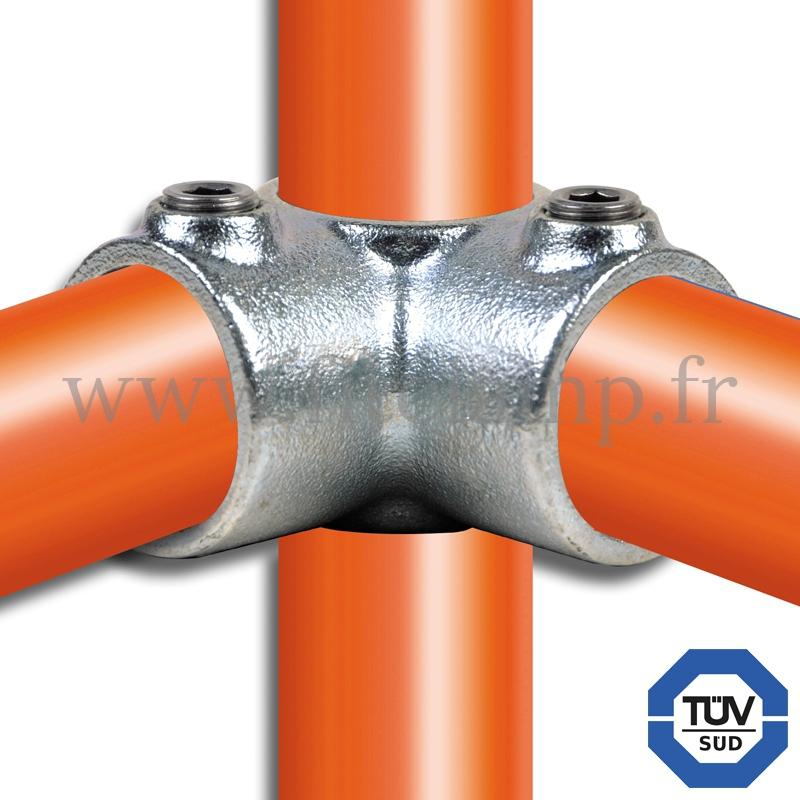 Conector tubular 116: Codo intermedio compatible con 3 tubos para montaje tubular. Fitclamp.