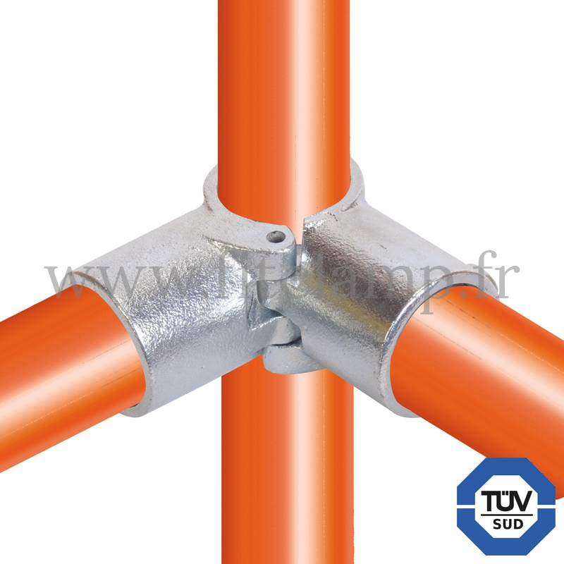 Tube clamp fitting 116A for tubular structures: 3-way through clamp (a), compatible for use with 3 tubes. Easy to install
