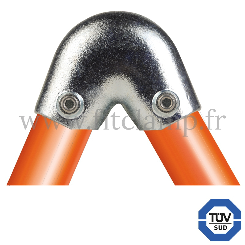 Tube clamp fitting 123 for tubular structures: Variable elbow clamp 40-70°, compatible for use with 2 tubes.