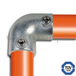 Tube clamp fitting 125 for tubular structures: 2-way elbow 90° clamp, compatible for use with 2 tubes. Easy  to install