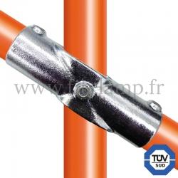 Raccord tubulaire Croix incliné 30°-45° (126) pour un assemblage tubulaire. Compatible pour fixer 3 tubes.