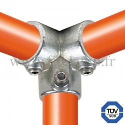 Raccord tubulaire Coude 90° type corner (128) pour un assemblage tubulaire.  Compatible pour fixer 3 tubes.