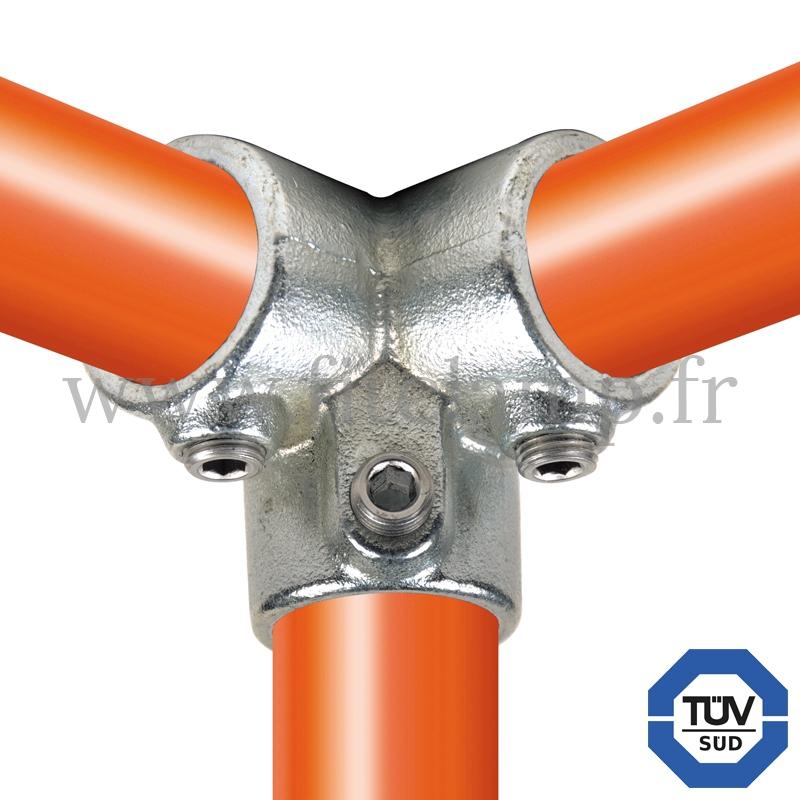 Conector tubular 128: Codo 90° tipo esquinero compatible con 3 tubos para montaje tubular. FitClamp