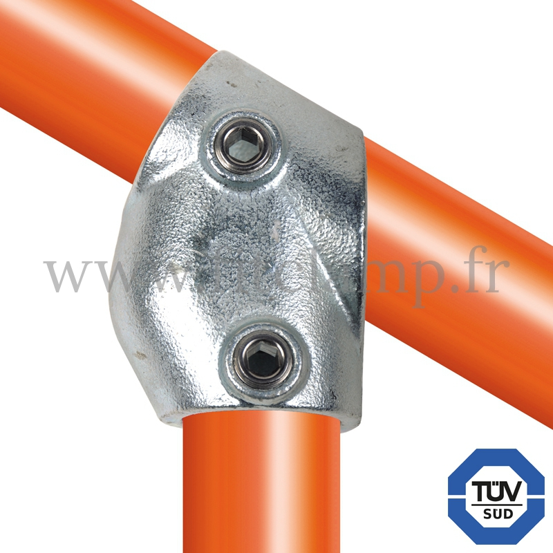 Tube clamp fitting 129 for tubular structures: Adjustable short tee 30- 60° clamp. Easy to install