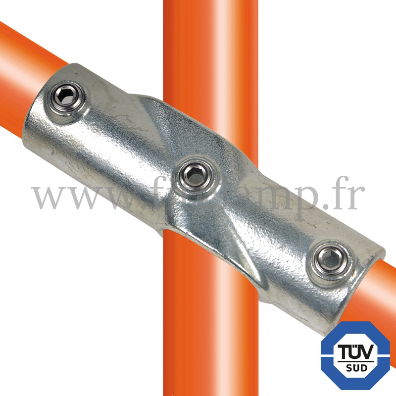 Tube clamp fitting 130 for tubular structures: Angle cross, compatible for use with 3 tubes. Easy to install