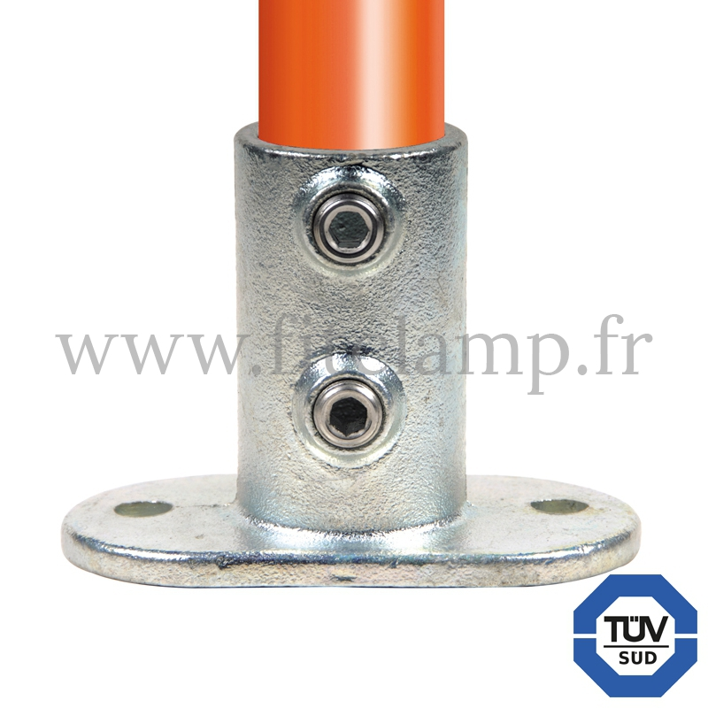 Conector tubular 132: Base con pletina alargada para montaje tubular. FitClamp