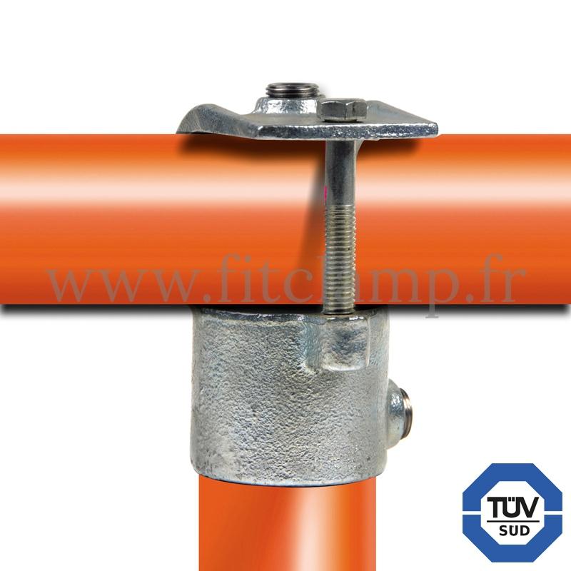 Conector tubular 135: T corto abierto compatible con 2 tubos para montaje tubular