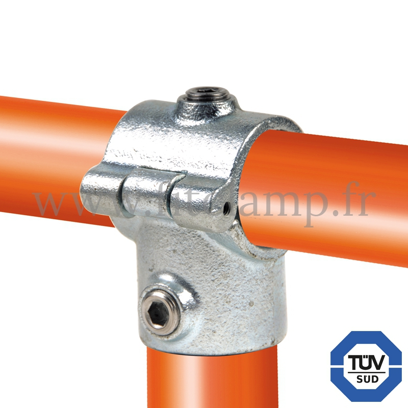Rohrverbinder 136: Kurzes T-Stück mit Bolzen (aufklappbar), geeignet für 2 Rohre für Rohrkonstruktion