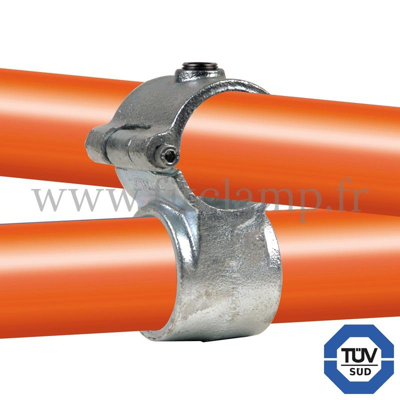 Conector tubular 137: T corto cruzado compatible con 2 tubos para montaje tubular
