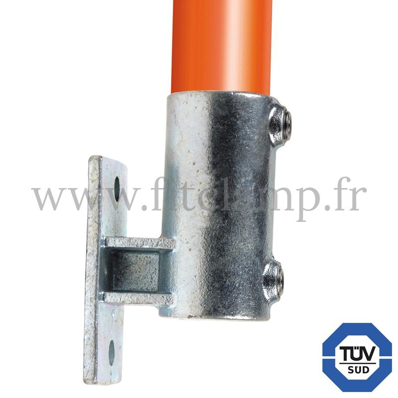 Conector tubular 144: Soporte de fijación con pletina vertical para montaje tubular. con doble protección de galvanizado