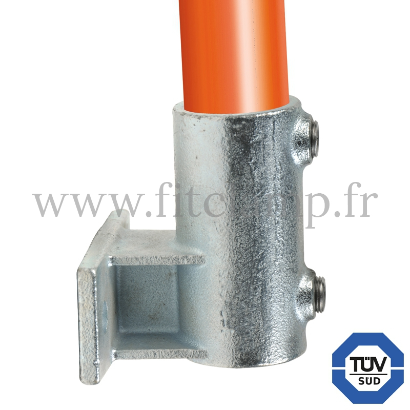 Conector tubular 145: Soporte de fijación con pletina horizontal para montaje tubular. Con doble protección de galvanizado