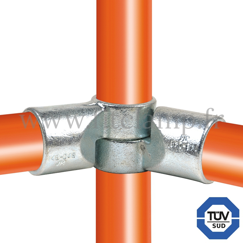 Tube clamp fitting 148 for tubular structures: Short swivel tee. Easy to install. FitClamp