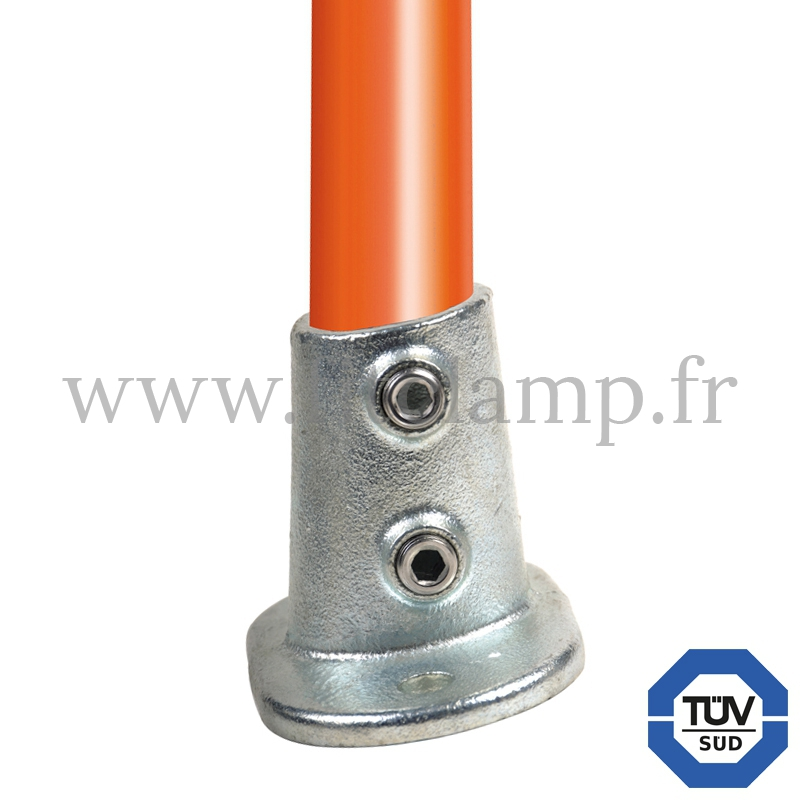 Tube clamp fitting 152 for tubular structures: Railing base flange 0 -11°. With double galvanized protection