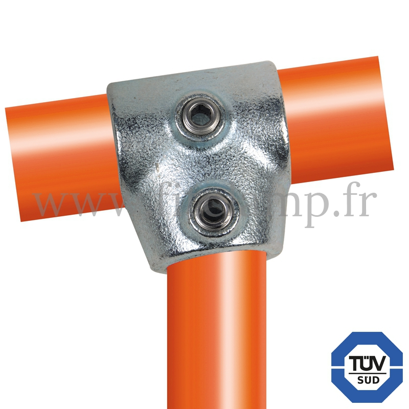 Rohrverbinder 153: T-Stück kurz verstellbar 0°-11° für Rohrkonstruktion. FitClamp.
