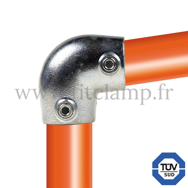 Tube clamp fitting 154 for tubular structures: Short tee 0-11°. with double galvanized protection. FitClamp