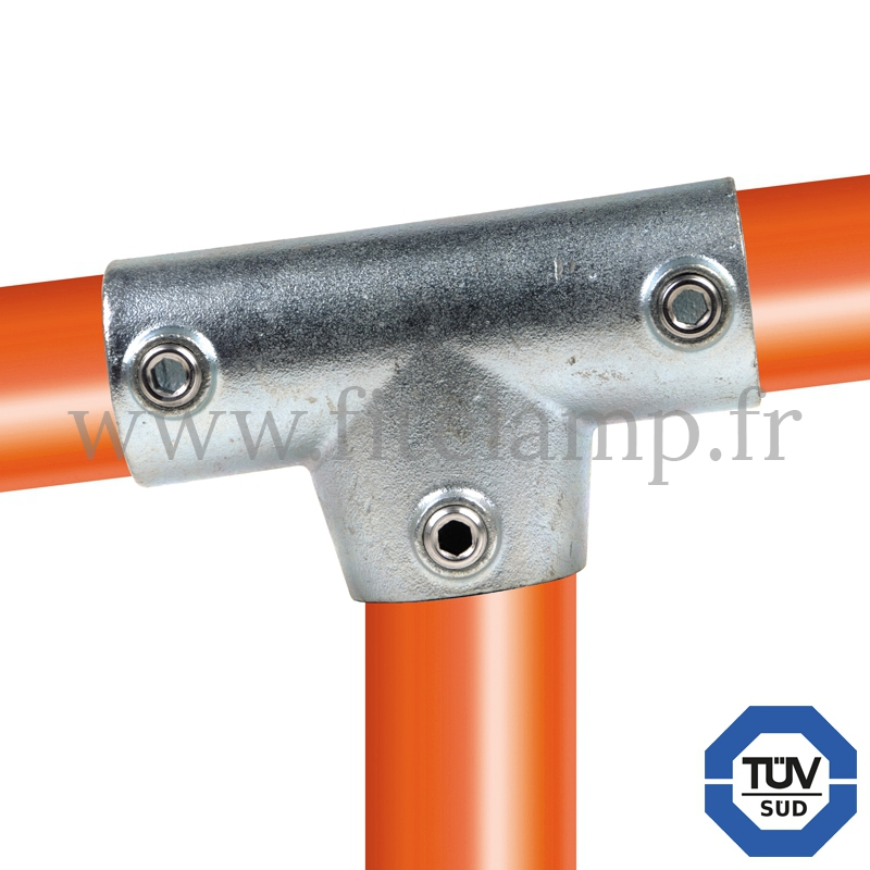Tube clamp fitting 155 for tubular structures: Slope long tee 0-11°. With double galvanized protection. FitClamp