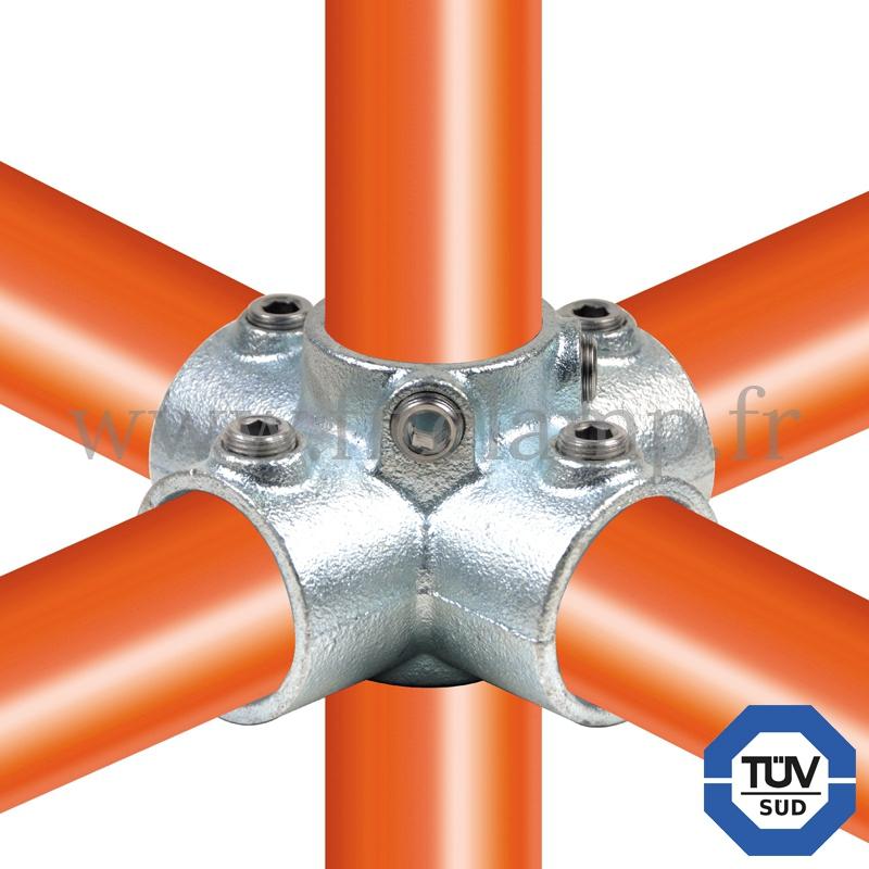 Rohrverbinder 158 - Kreuzstück für Stützrohr für Rohrkonstruktion. FitClamp.