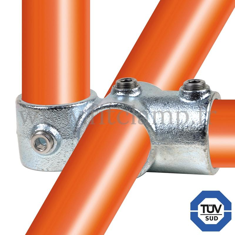 Conector tubular 165: Cruz girada bis para montaje tubular. Realice fácilmente su montaje tubular.