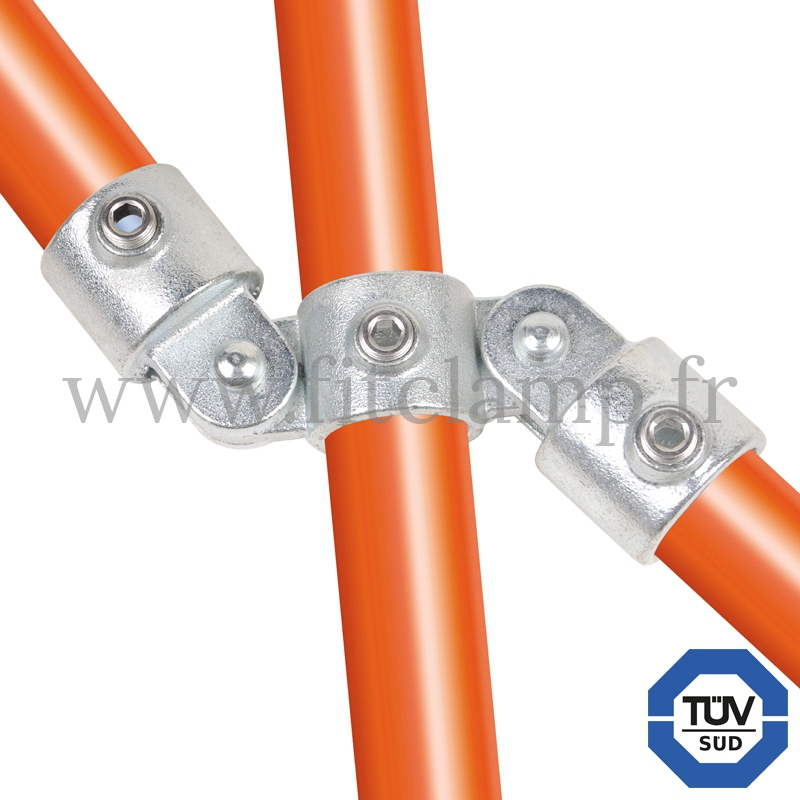 Tube clamp fitting 167 for tubular structures: Double swivel vertical combination 180°. FitClamp