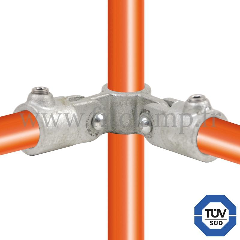 Conector tubular 168: Cruz giratoria 90° vertical para montaje tubular. Se montan con una simple llave Allen