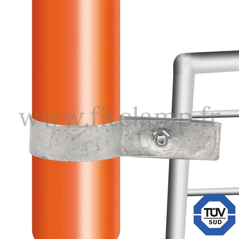 Tube clamp fitting 170 for tubular structures: Single-sided mesh panel clip. With double galvanised protection. FitClamp