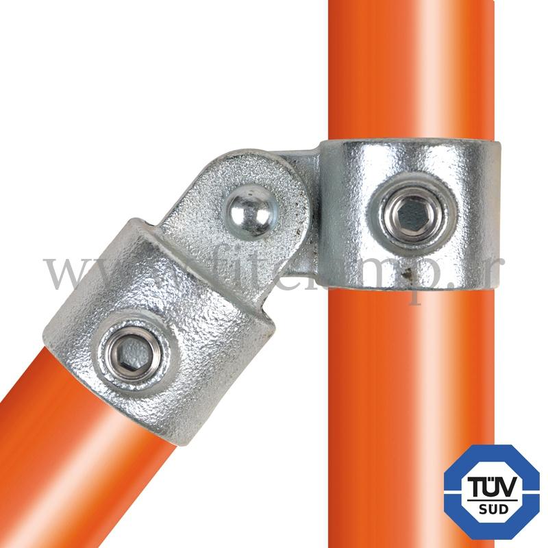 Conector tubular 173: T corto giratorio para montaje tubular. Se montan con una simple llave Allen