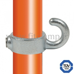 Tube clamp fitting 182: Hook clamp, compatible for use with single-tube tubular structures. Double galvanized protection.