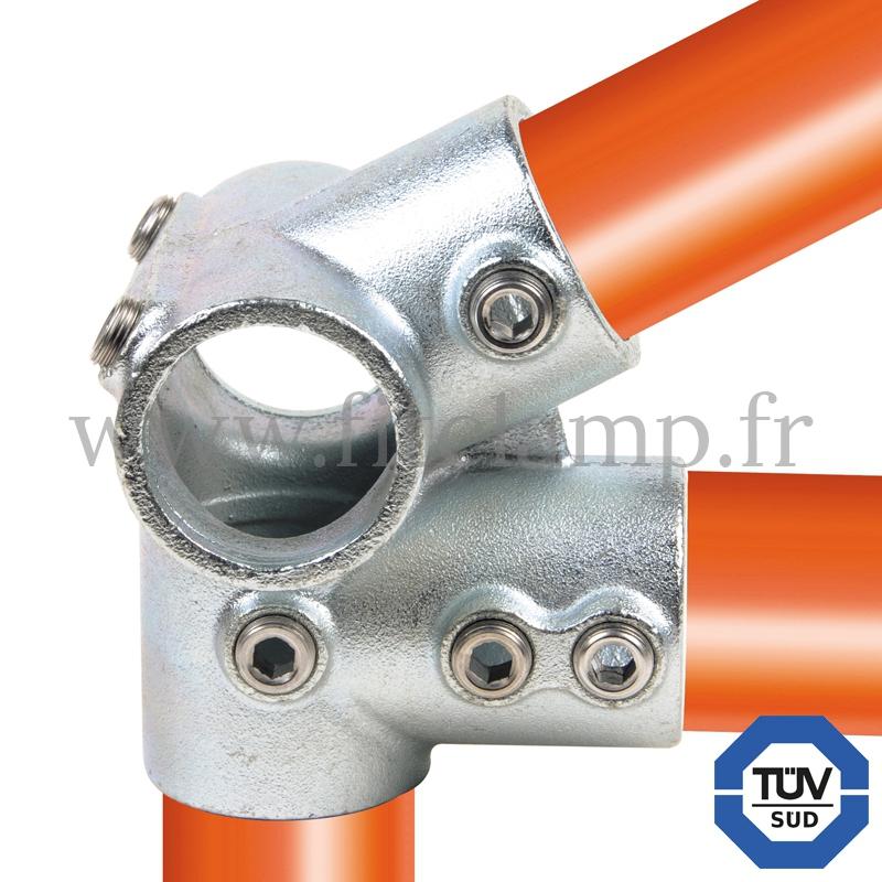 Rohrverbinder 185: Traufenstück für Rohrkonstruktion. FitClamp.