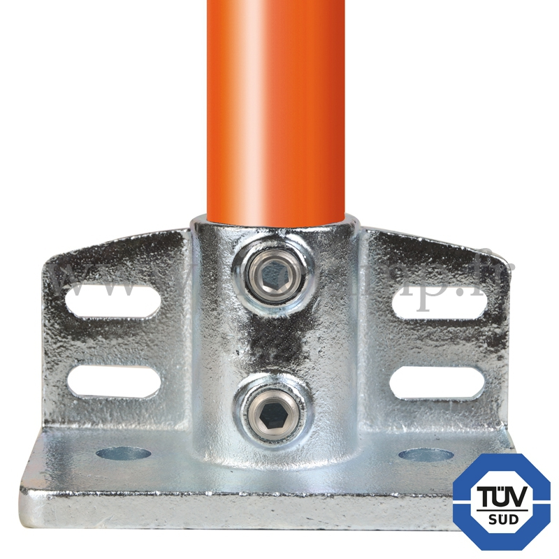 Tube clamp fitting 247 for tubular structures: Flange with toeboard adaptor. With double galvanised protection. FitClamp