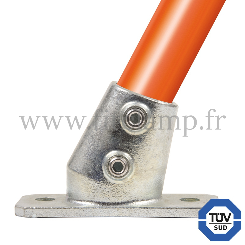 Rohrverbinder 252Z: Fußplatte 11°- 29° Neigung für Rohrkonstruktion. FitClamp.
