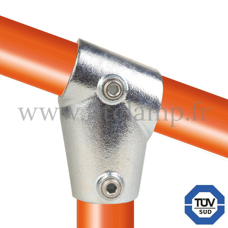 Tube clamp fitting 253Z for tubular structures: Slope short tee 11-29° clamp. With double galvanised protection. FitClamp