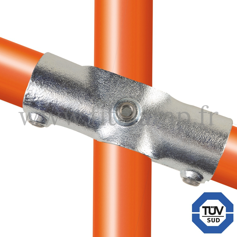 Tube clamp fitting 256Z for tubular structures: Slope cross, middle rail 11-29°. With double galvanised protection