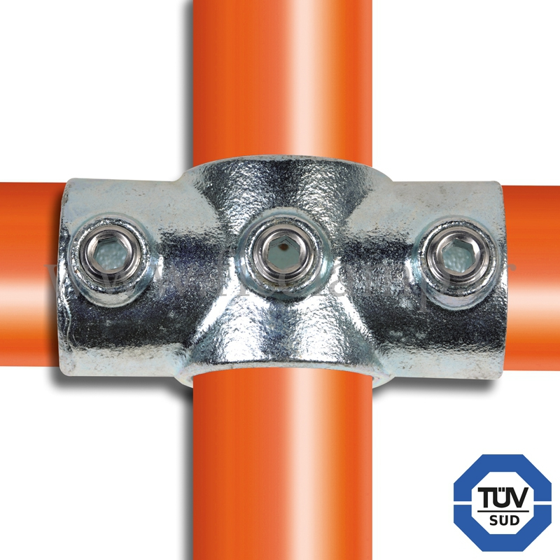 Tube clamp fitting for tubular structures: Reducing socket cross. with double galvanised protection