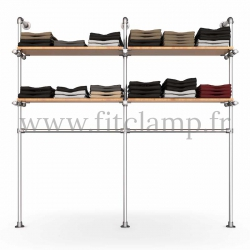 Double-width shelving with hanging wardrobe. Tubular structure. Quick and easy assembly with an Allen key (provided). FitClamp
