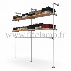 Double-width shelving with hanging wardrobe. Tubular structure. Its industrial style is right on trend