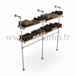 Double-width shelving with hanging wardrobe. Tubular structure. Its industrial style is right on trend. FitClamp